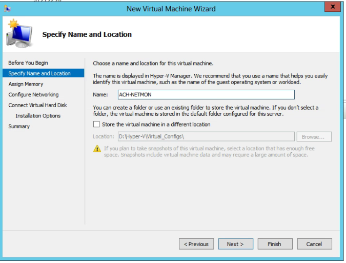 Hyper-V Name and Location VM