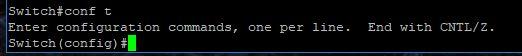 Cisco 2960G VLANs conf t